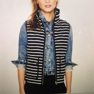 J Crew Excursion Quilted Navy Stripe Vest Size Med